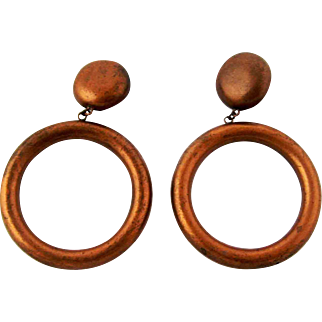 Vintage Huge Copper Button and Hoop Earrings - Scooter Paris