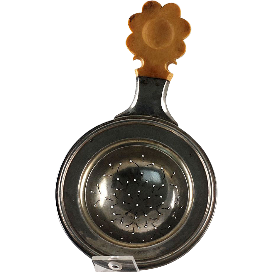Antique Austro-Hungarian Sterling Silver Tea Strainer – Wood Flower Handle