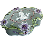Schafer Vater German Porcelain Jasperware Box - Art Nouveau