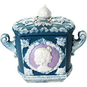 Schafer Vater German Porcelain Cameo Jasperware Box – C 1920