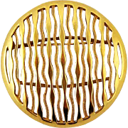 Large Vintage Trifari Gold Tone Brooch - Waves