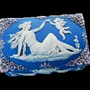 Schafer Vater German Porcelain Lady & Cherub Jasperware Box – C 1900