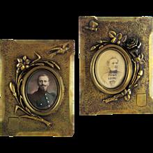 Pair Antique Bronze Photo Picture Frames Flowers Bird Butterfly