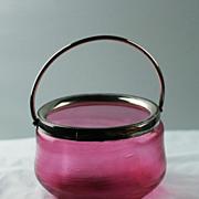 Antique Threaded Spun Glass Cranberry Bowl