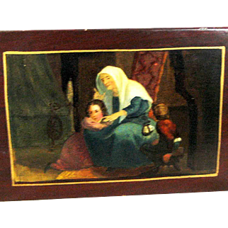19th Century Snuff Box - Tole - Hand Painted