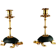 Pair Tortoise Turtle Figural Candlesticks – Dore Bronze & Leather – c 1880