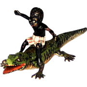 Antique Vienna Bronze Black Boy on Alligator – c 1900