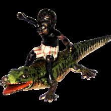 Antique Vienna Bronze Black Boy on Alligator – c 1900