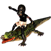 Antique Vienna Bronze Black Boy Riding Alligator - Geschutz