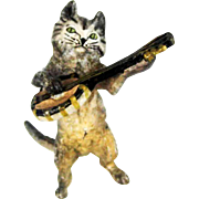 Antique Vienna Bronze Cat Playing Banjo
