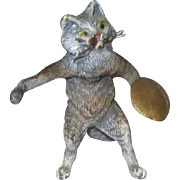 Small Victorian Vienna Bronze Cat with Cymbal