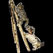 Antique Vienna Bronze Dog Chasing Cat on Ladder
