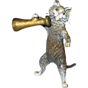 Small Victorian Vienna Bronze Cat with Megaphone