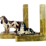 Pair Vienna Bronze Dog Setter Bookends – Antique
