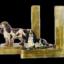 Pair Vienna Bronze Dog Setter Bookends – Antique