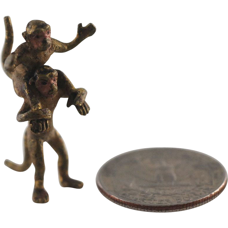 Antique Tiny Cold Painted Vienna Bronze Monkeys – C 1890