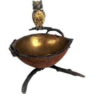 Vienna Bronze Owl and Egg Compote Bowl – c 1900