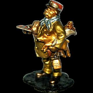 Vienna Bronze Man with Good Luck Pig & Flowers – C 1910
