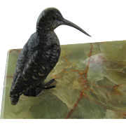 Antique Vienna Bronze Bird Snipe on Onyx Tray