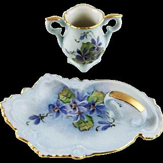 Vintage Porcelain Trinket Vanity Tray and Vase – Hand Painted Violets