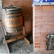 """1895 Antique 34"""" STAR Oak Red Paint Wood Barrel Butter Churn"""