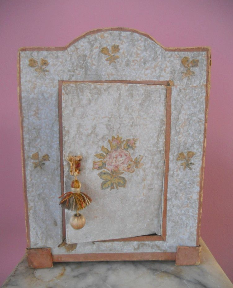 Antique Doll Wallpaper Chiffarobe Dollhouse Linen Press Furniture