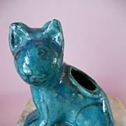 Antique Persian Islamic Pottery Cat w Egyptian Faience Blue Glaze