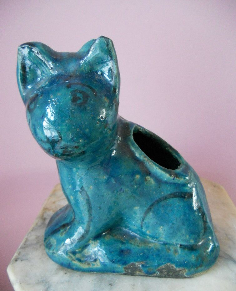 Antique Persian Islamic Cat Pottery Egyptian Faience Blue Glaze