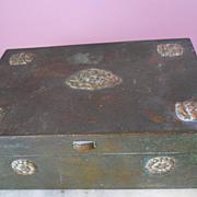 Antique Asian Chinese Bronze Brass Document Jewel Scholar Box