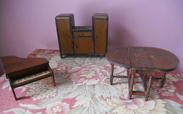 Antique Wood Dollhouse Gateleg Table Piano Chifferobe Furniture
