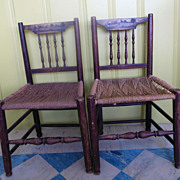 18C Hand Painted Landscape Rope Seat Wood Peg Jointed Chairs