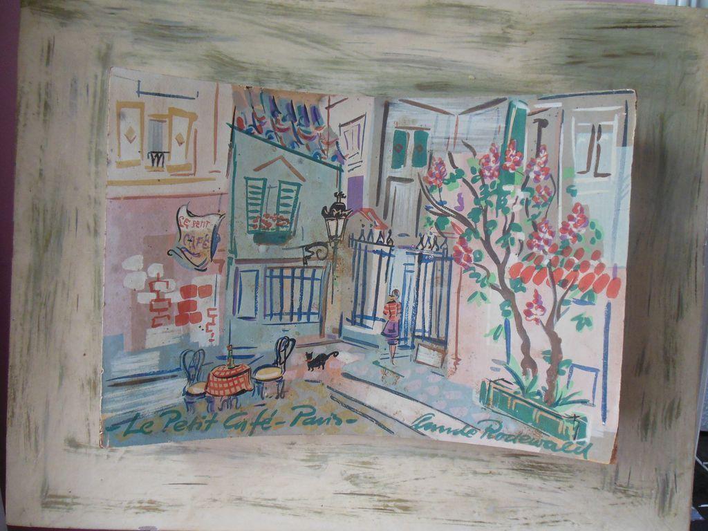 40s Claude Rodewald Paris Cafe Impressionistic Diorama Painting