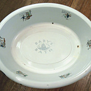 Antique Enamel Baby or Doll Nursery Rhyme Bath Tub