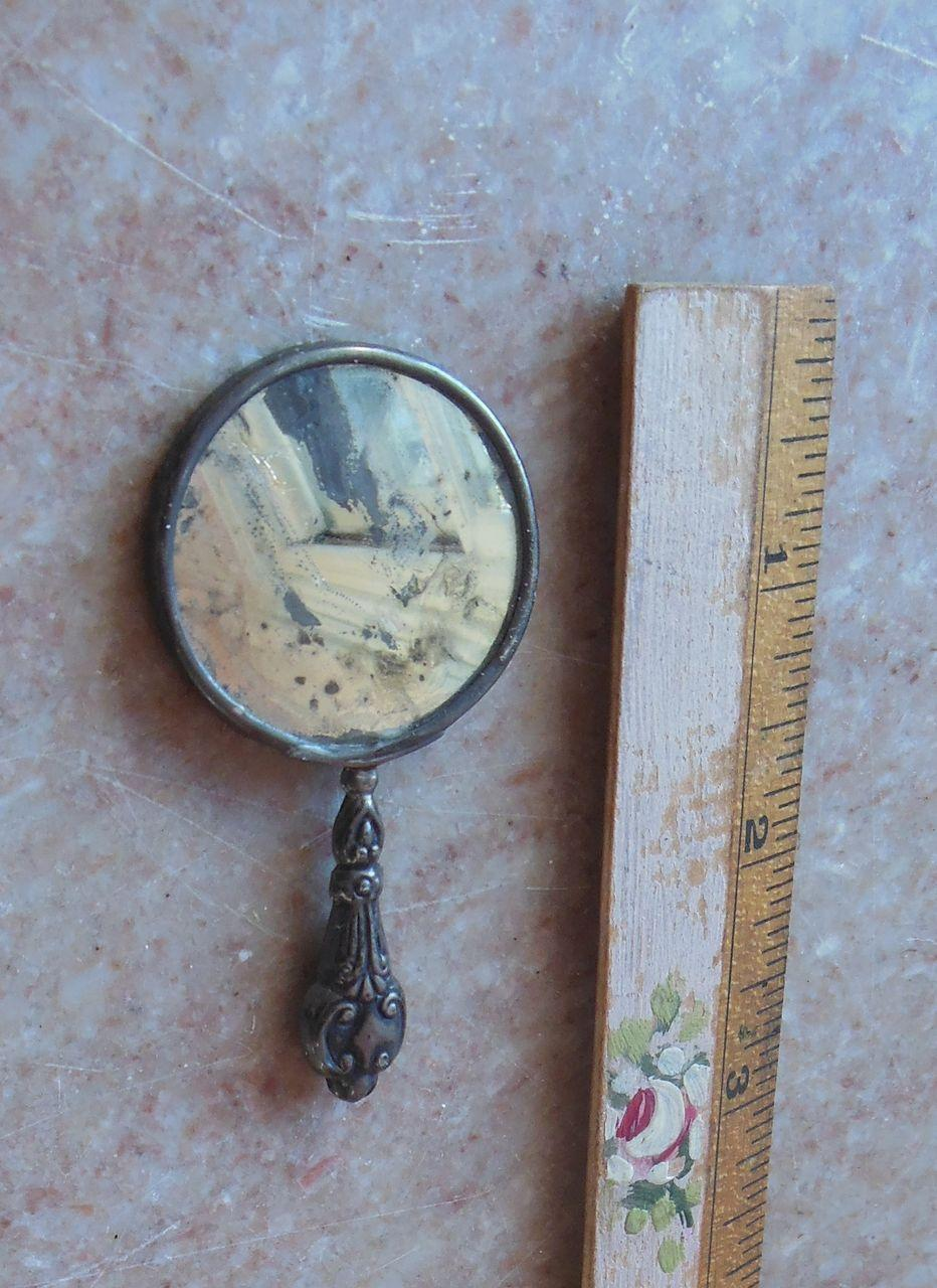 Antique French Fashion Doll Silver Hand Mirror Doll Accessory