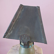 1900s ARTS & CRAFTS Pottery Lamp with Bronze Metal Shade