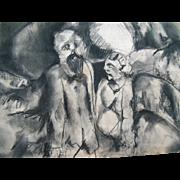"Original 24"" Modern Art Drawing Rouault Lovis Picasso Influence"