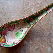 Unusual Antique 19C CHINESE Rose Medallion Serving Spoon