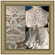 Edwardian Women's Lace Bolero Shrug Vest Jacket Antique