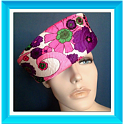 1960s Pink and Green Mod Psychedelic Pill Box Hat