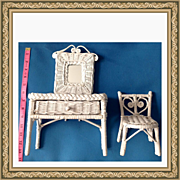 Vintage Fancy Wicker Doll Mirrored Vanity & Chair