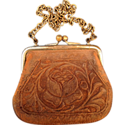 1920s Woman's Tooled Leather Floral Change Coin Purse