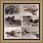 (6) 19C 1891 W. Goodrich Beal Landscape Etching