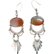 Lovely Exotic Vintage Carnelian Silver Dangle Earrings