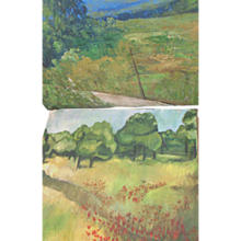 (2) 1947 Impressionistic Oil Landscape Poppy Field Painting Pair sgnd Amy Case