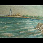 1947 Orig Cape Ann Gloucester Lighthouse Seascape Painting signed Charles Hoyle