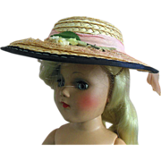 Vintage Toni Mary Hoyer Size Pink Doll Straw Hat with Flowers