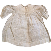 Antique Child or Cloth Papier Mache China Bisque Doll Victorian 19C Waffle Fabric Cotton Dress