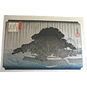 1870 HIROSHIGE Japanese Woodblock Print Night Rain at Karasaki Lake Biwa Series