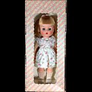"""1960s Vinyl Belle Doll & Toy Co Pre Effanbee Pink Flower Dressed 10.5"""" Doll Mint in Box"""