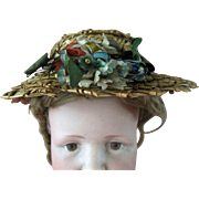 Fancy 19C Antique Straw Floral Bisque China Wood Cloth Doll Hat